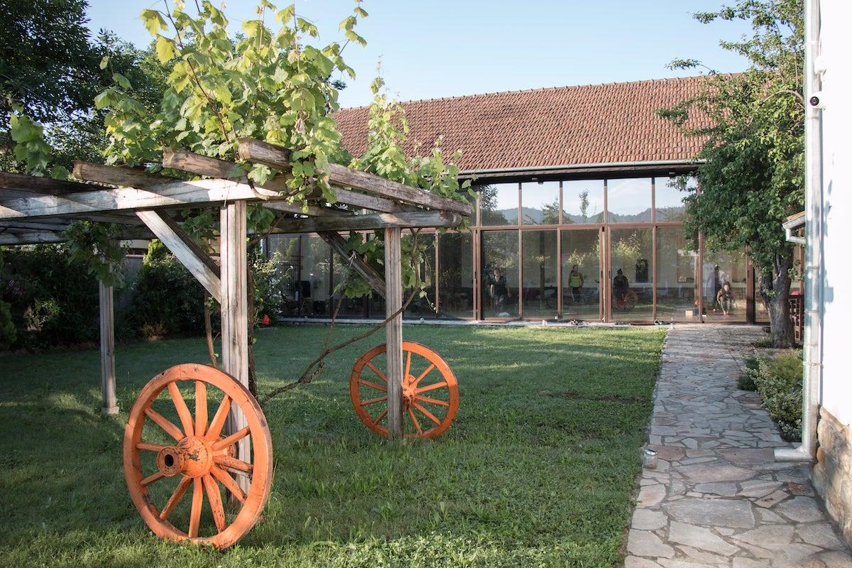 Garden view of a yoga center in Bulgaria