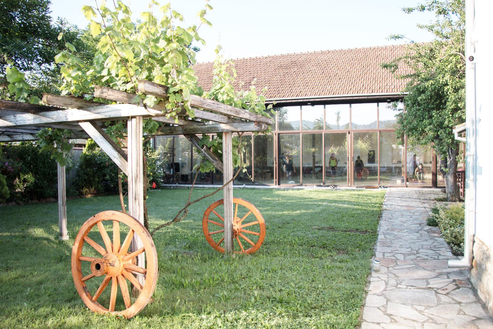 Garden view of our yoga center in Veliko Tarnovo Bulgaria